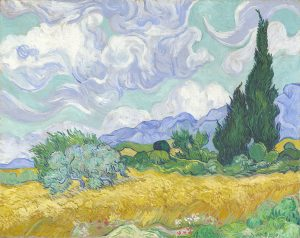 Van Gogh, Champs de blé avec cypres.