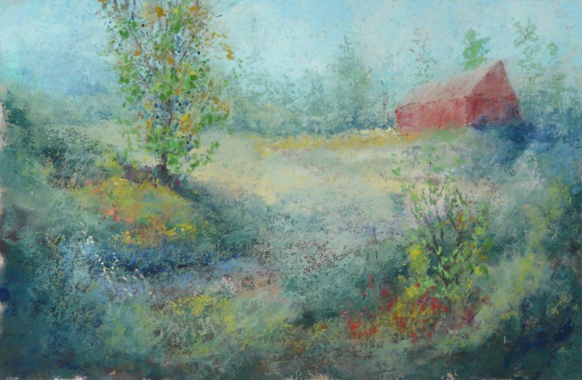 Dans les collines 21-12x16po - Pastel sur papier sablé - Vendu