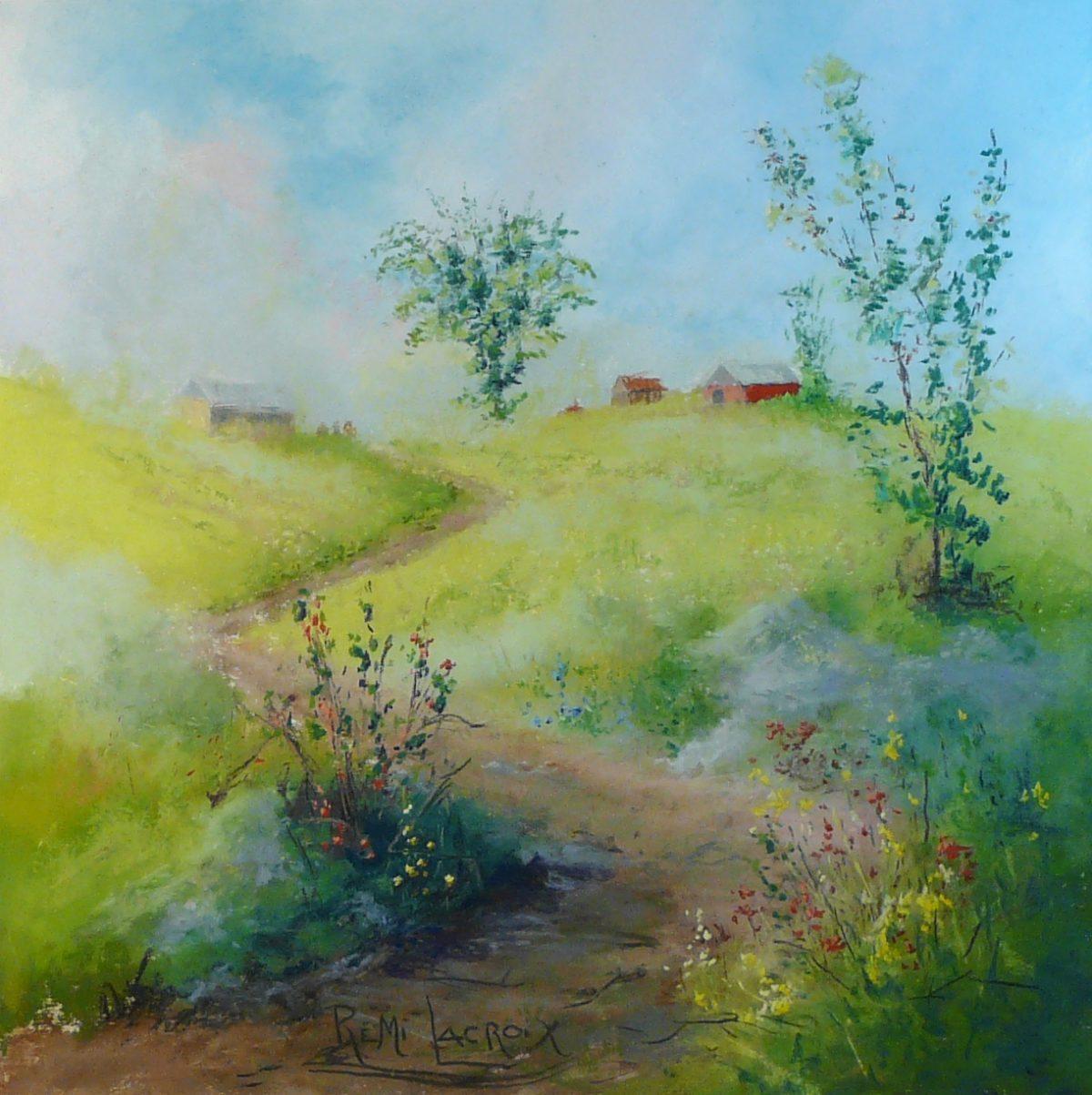 Dans les collines #16 -18x18 po -Pastel sur papier-sable-Disponible