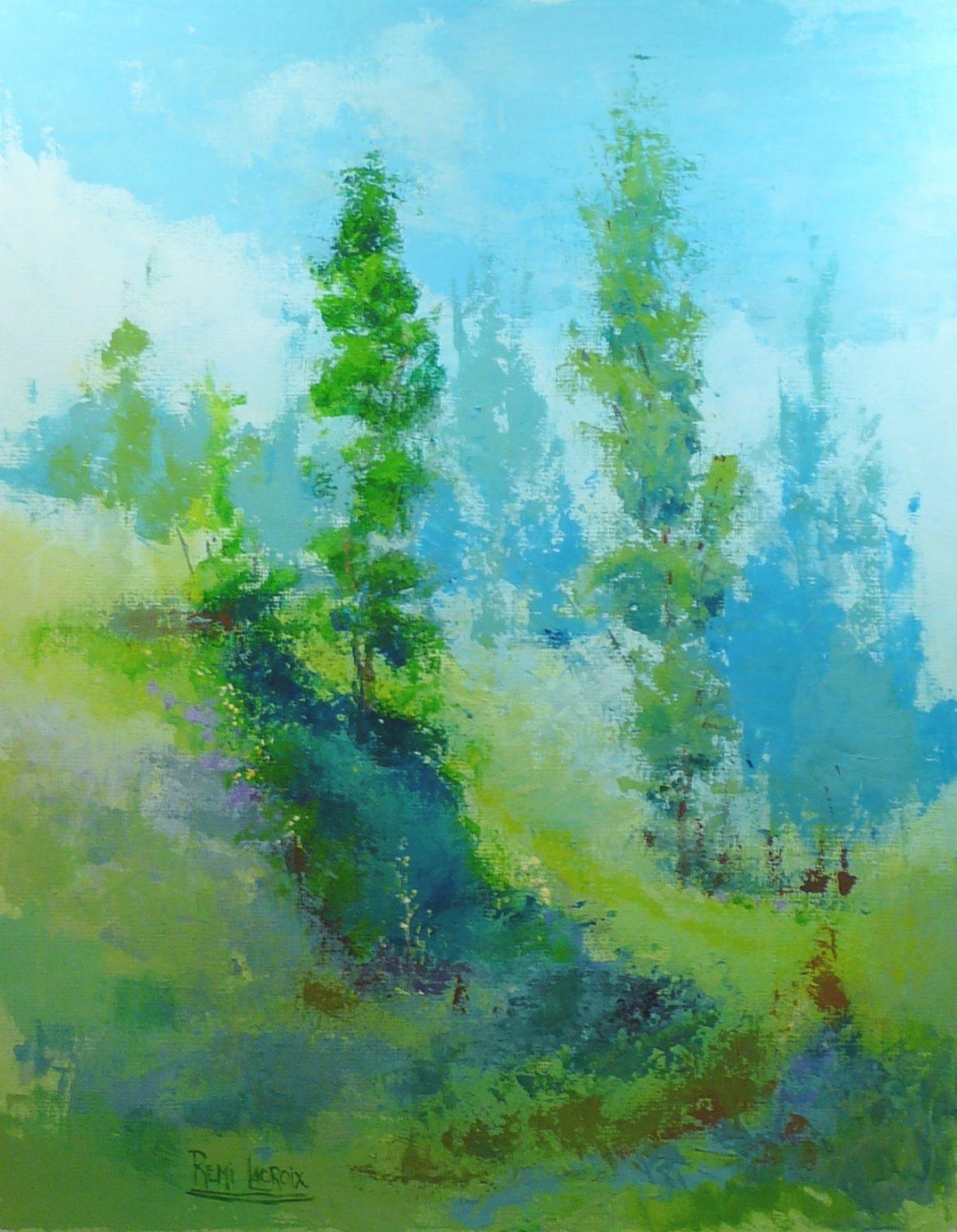 Dans les collines no 12 - 30x24po - Acrylique sur toile