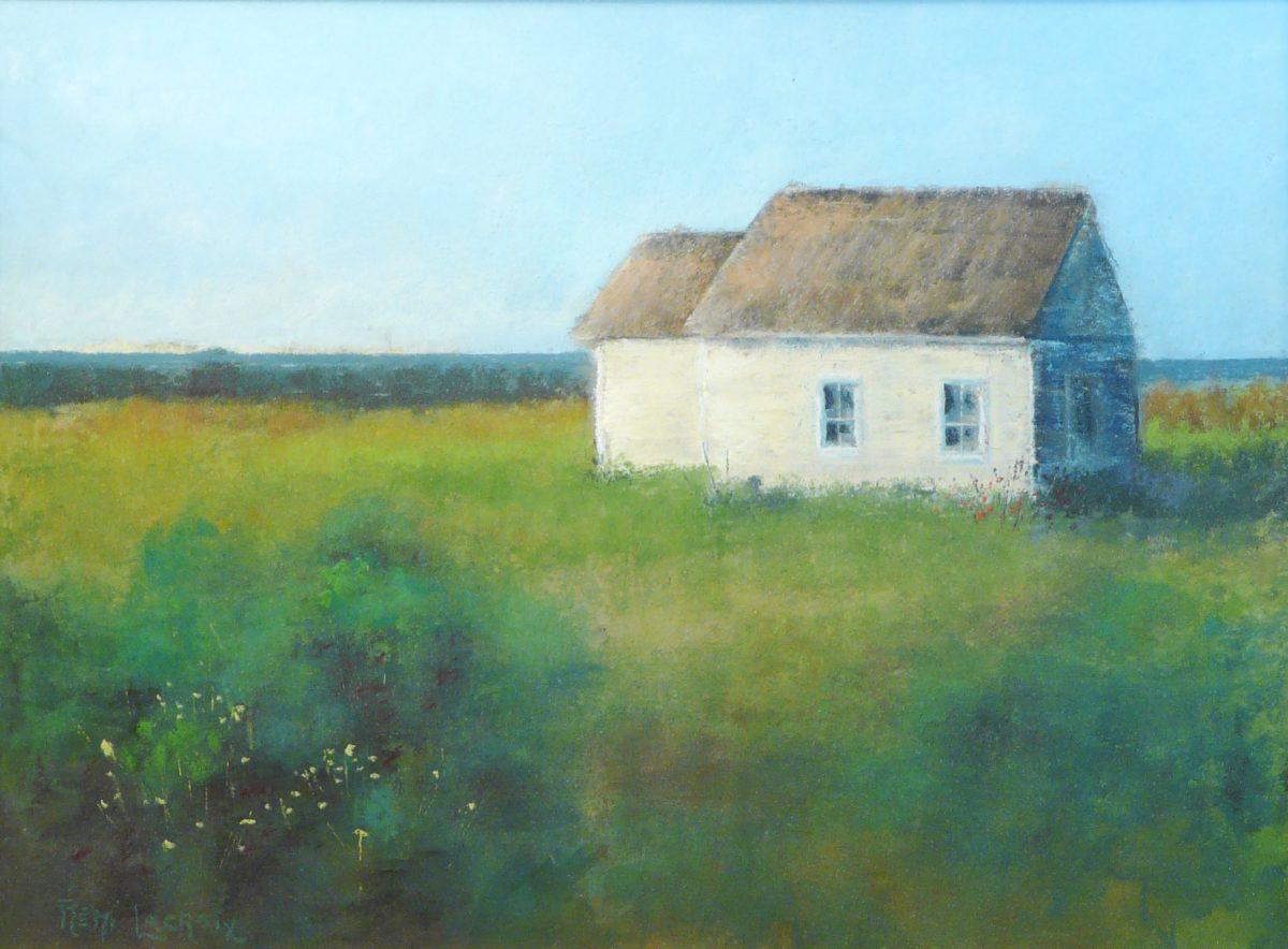 La petite maison blanche - 12x16 po - Pastel sur papier sablé