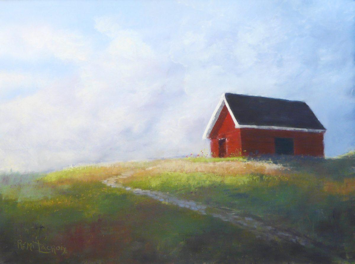 La petite maison rouge des îles - 12x16po - Pastel sur papier-sablé