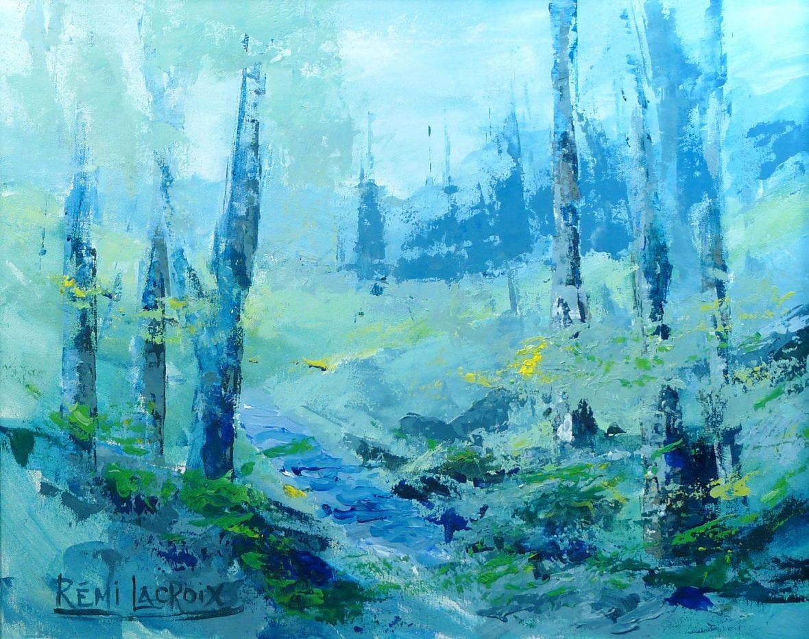 Paysage avec arbres - 16x20po - Acrylique sur toile