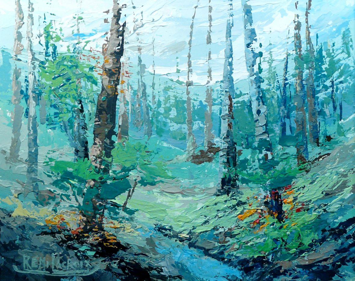 Paysage avec arbre no 2 - 16x20 po - Acrylique sur toile