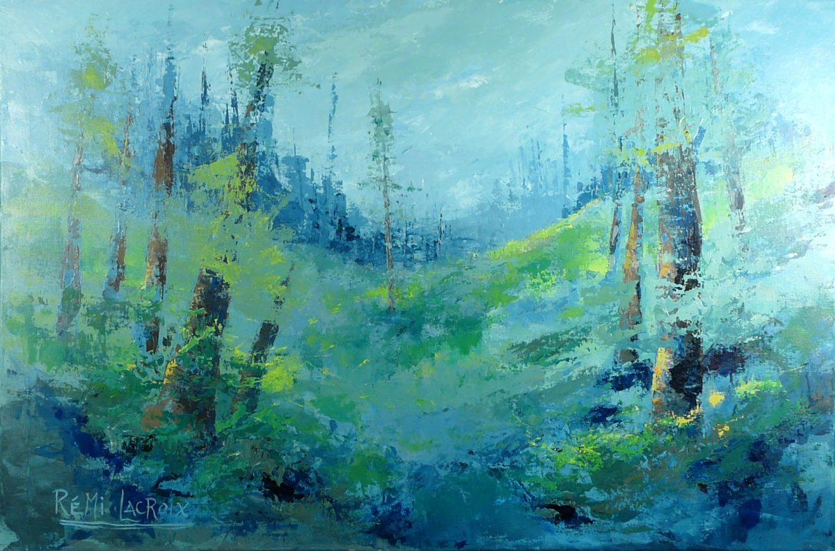 Paysage avec arbres no 3 - 24x36 po - Acrylique sur toile