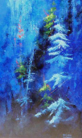 Terre de nuit no 4 - 58 x 36 po - Acrylique sur toile