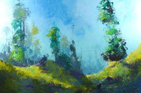 Dans les collines no 7 - 24x36 - Acrylique sur toile