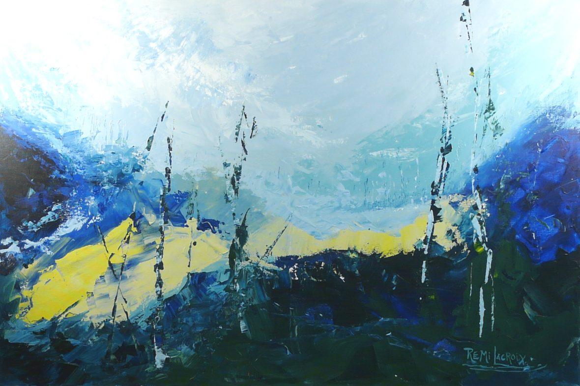 Terre d'hiver no 12 - 24x36 po - Acrylique sur toile